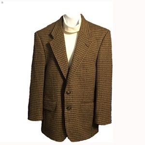 VTG Burberrys Brown and Green Plaid Blazer
